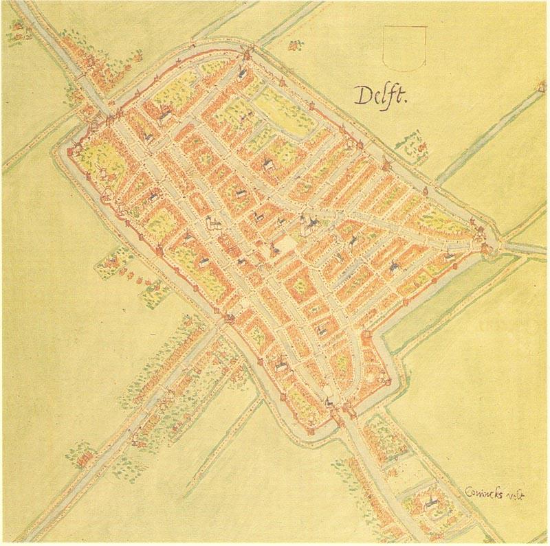 De oostelijke stadsmuur van Delft